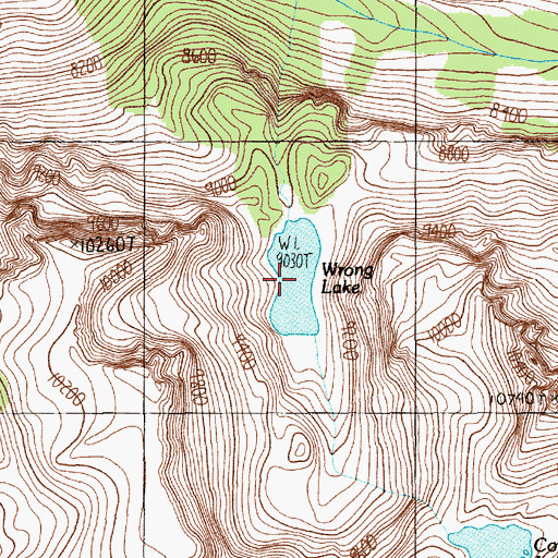 Topographic Map of Wrong Lake, MT