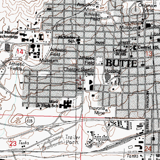 Topographic Map of Chester Steele Park, MT