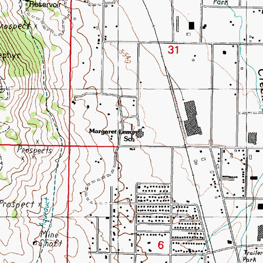 Topographic Map of Margaret Leary School, MT