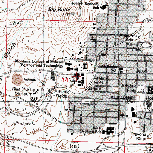 Topographic Map of KMSM-FM (Butte), MT