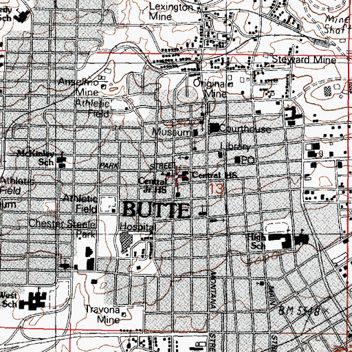 Topographic Map of Butte Central High School, MT
