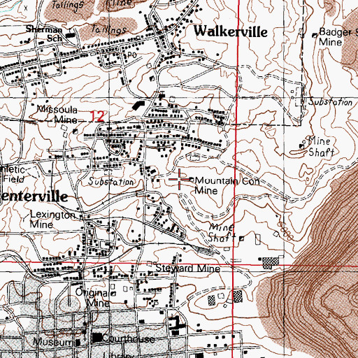 Topographic Map of Mountain Con Mine, MT