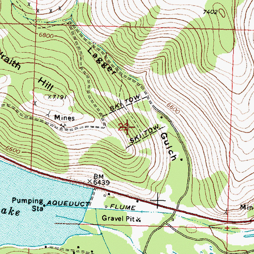 Topographic Map of Wraith Hill Ski Area, MT