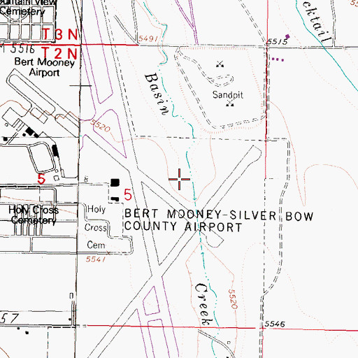 Topographic Map of 02N07W05ACD_01 Well, MT
