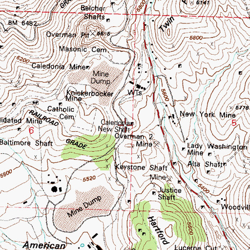 Topographic Map of Caledonia New Shaft, NV