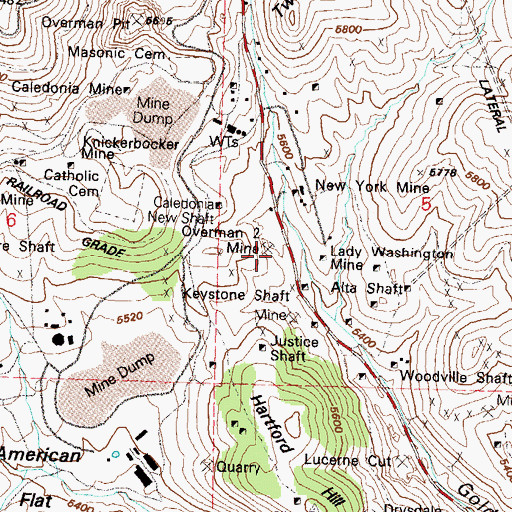 Topographic Map of Overman Two Mine, NV