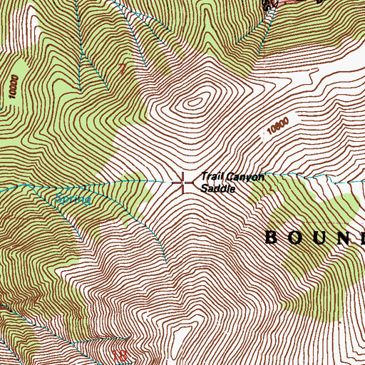 Topographic Map of Trail Canyon Saddle, NV