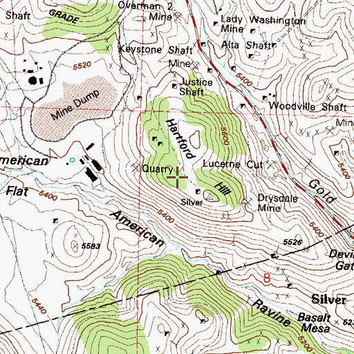 Topographic Map of Hartford Hill, NV
