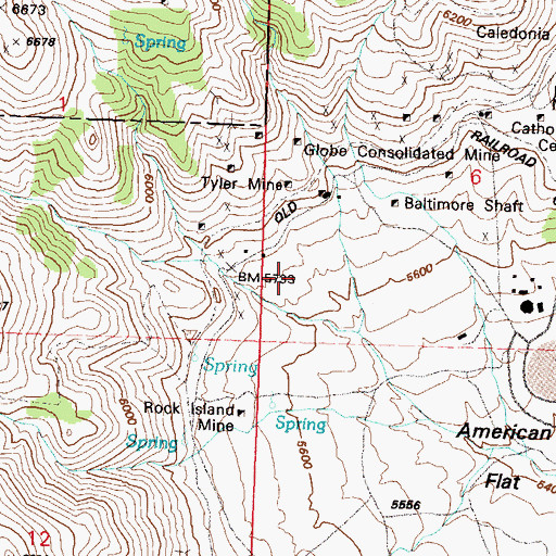 Topographic Map of American Flat Mine, NV