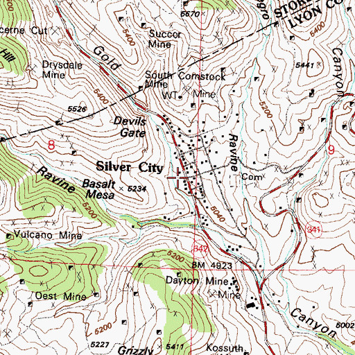 Topographic Map of Milwaukee Mine, NV