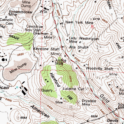 Topographic Map of Lower Gold Hill (historical), NV