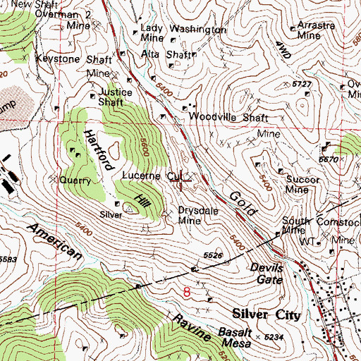Topographic Map of Lucerne Cut, NV