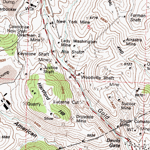 Topographic Map of Woodville Shaft, NV
