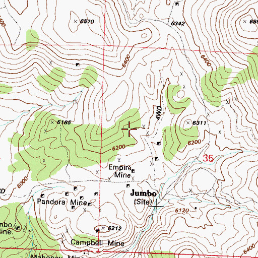 Topographic Map of Last Chance Mine, NV