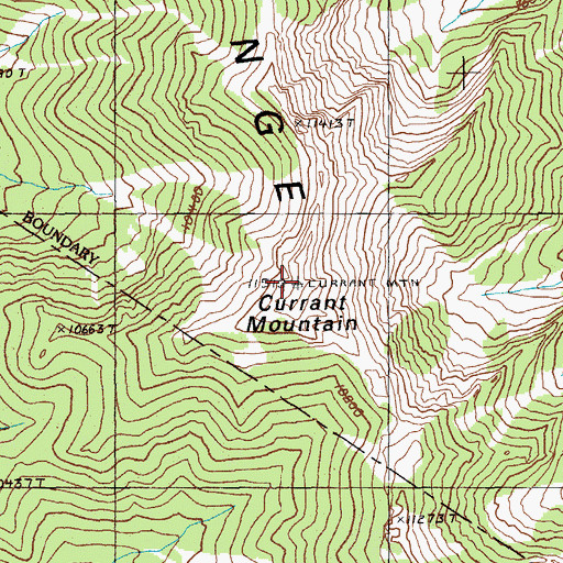 Topographic Map of Currant Mountain, NV