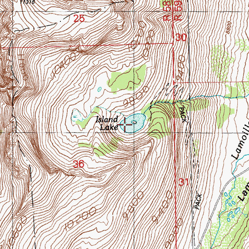 Topographic Map of Island Lake, NV