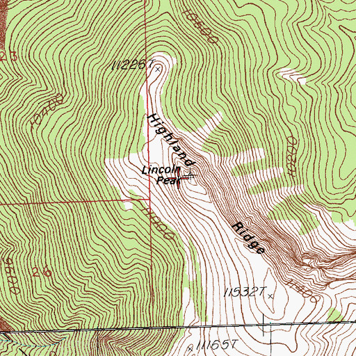 Topographic Map of Lincoln Peak, NV
