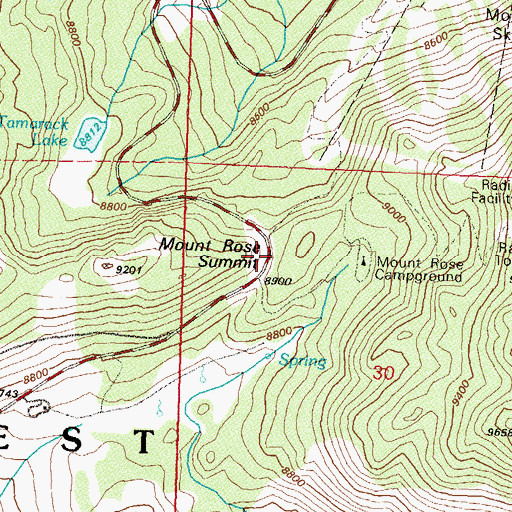Topographic Map of Mount Rose Summit, NV