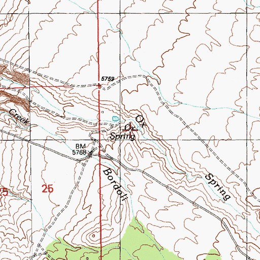 Topographic Map of Ox Spring, NV