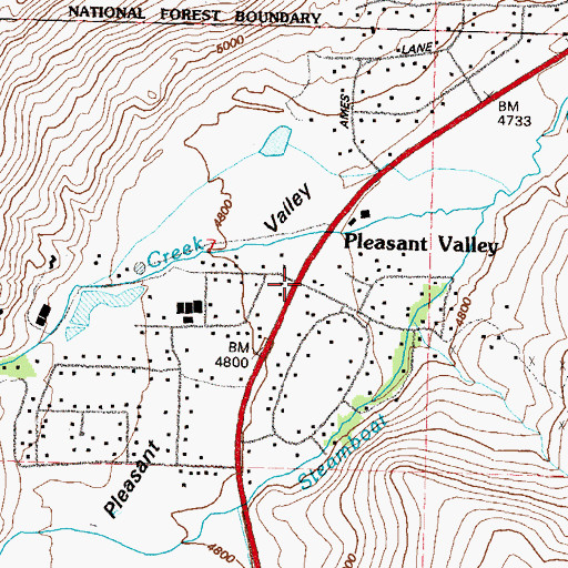 Topographic Map of Pleasant Valley, NV