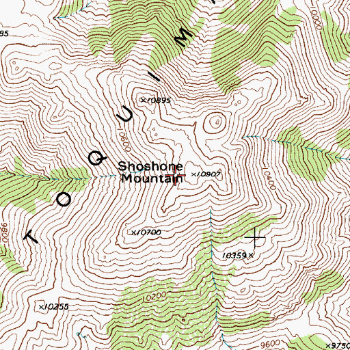 Topographic Map of Shoshone Mountain, NV