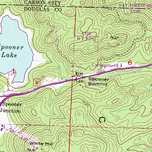 Topographic Map of Spooner Summit, NV