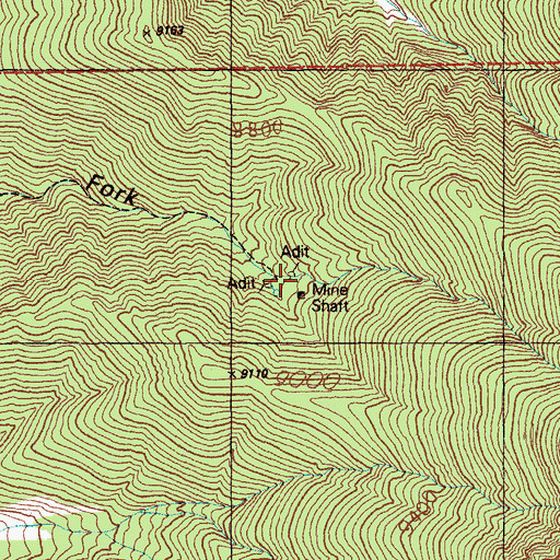 Topographic Map of Troy Mine, NV