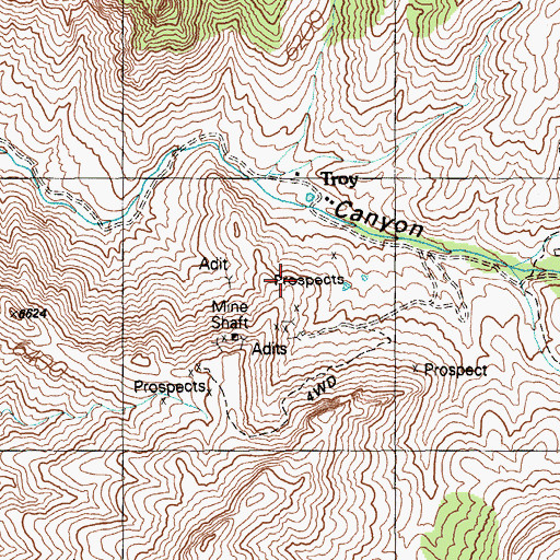 Topographic Map of Troy (historical), NV