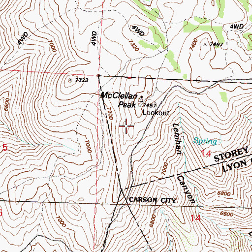 Topographic Map of KWNZ-FM (Carson City), NV