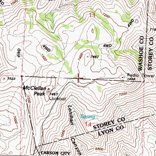 Topographic Map of KUNR-FM (Reno), NV