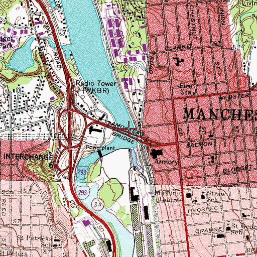 Topographic Map of Amoskeag Bridge, NH