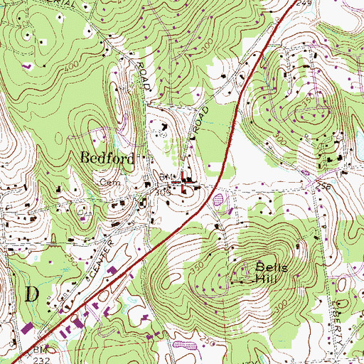Topographic Map of Bedford, NH