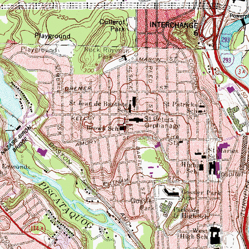 Topographic Map of Brown School, NH