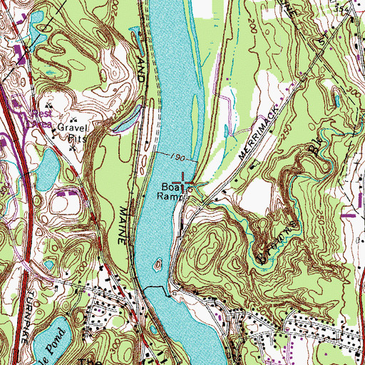 Topographic Map of Browns Brook, NH
