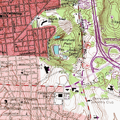 Topographic Map of Derryfield Park, NH