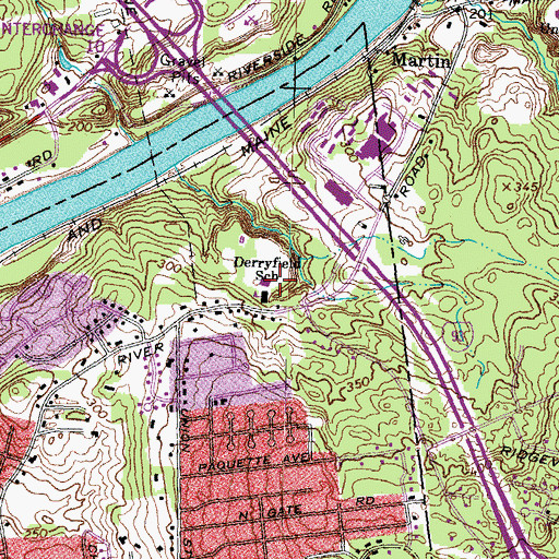 Topographic Map of Derryfield School, NH