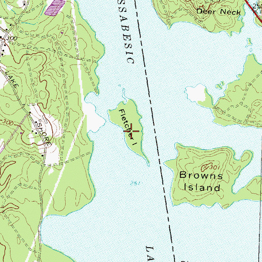 Topographic Map of Fletcher Island, NH