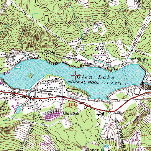 Topographic Map of Glen Lake, NH