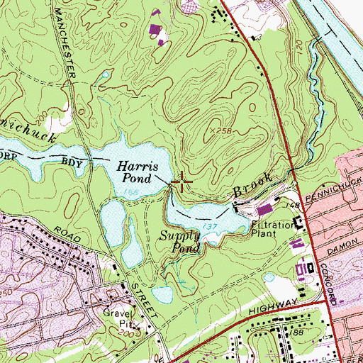 Topographic Map of Harris Pond, NH