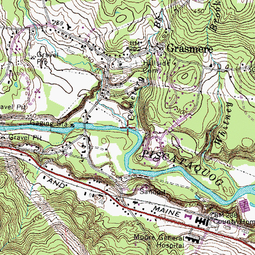 Topographic Map of Harry Brook, NH