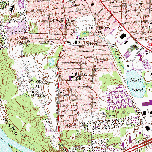 Topographic Map of Highland School, NH