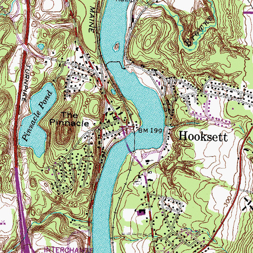 Topographic Map of Hooksett, NH