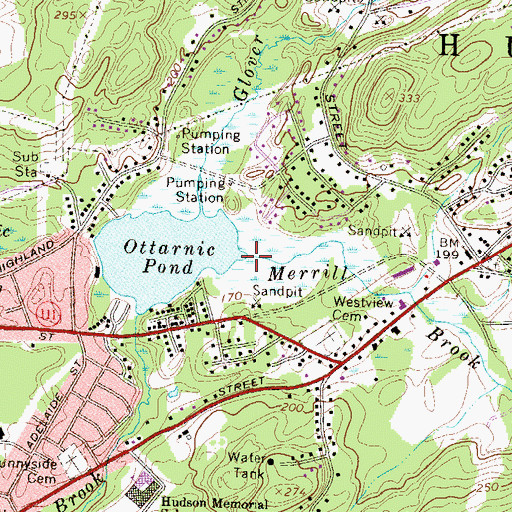 Topographic Map of Merrill Brook, NH