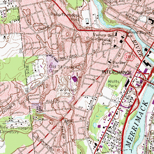 Topographic Map of Parker - Varney School, NH