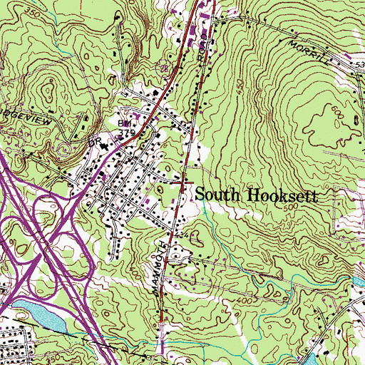 Topographic Map of South Hooksett, NH