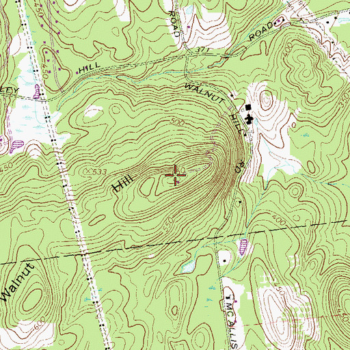 Topographic Map of Walnut Hill, NH