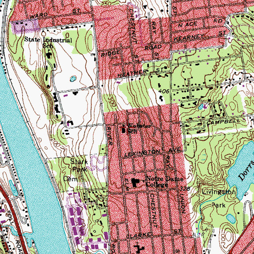 Topographic Map of Webster School, NH
