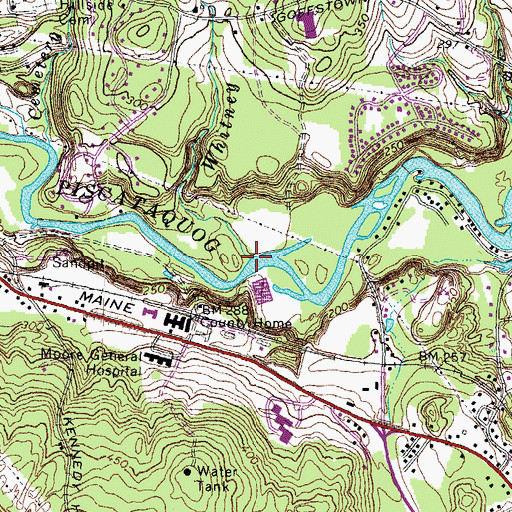 Topographic Map of Whitney Brook, NH