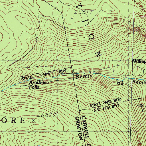 Topographic Map of Arethusa Falls, NH