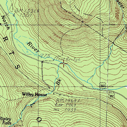 Topographic Map of Avalanche Brook, NH